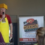 You can hardly ignore a man wearing a cheesy plastic hat