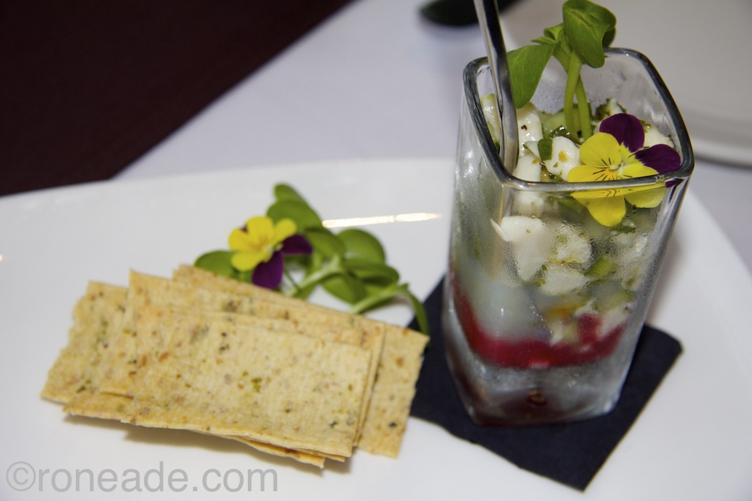 From the streamlined menu at Juniper Kitchen & Wine Bar, Atlantic scallop, ceviche, cucumber gin, raspberry refresh