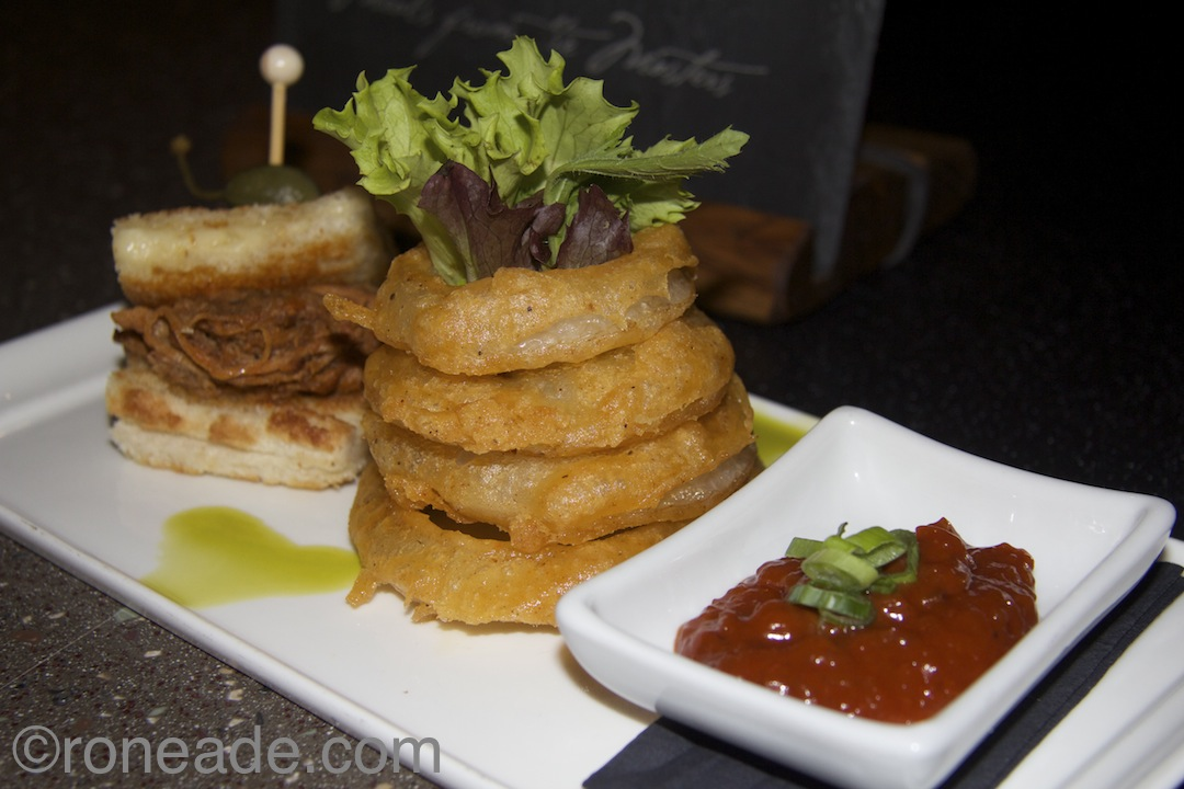 Also new on the Juniper menu, pulled pork grilled cheese, onion rings, pork jus dip