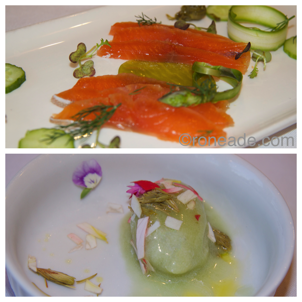 Top from chef Steve LaSalle, leek gelee and honey, asparagus, cured Arctic char, pickled dandelion buds, raw cucumber. Bottom by chef Kyle Mortimer-Proulx, spruce tips, cucumber and gin sorbet, olive oil, violas, begonias.