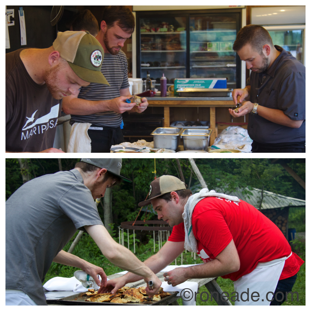 Top L-R chefs Adam Bannerman of Hooch, David Gick and Kyle Mortimer-Proulx of the former ZenKitchen. Bottom, chefs Chad Bradley and Danny Mongeon take bannock off the flames.