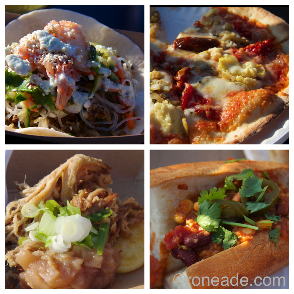 Clockwise from top left: Sula Wok's Asian Taqco; What the Truck a.k.a. Pizza e Panini's vegetarian pizza; Lunch truck chili cheese dog with chorizo, vegetarian chili; Urban Cowboy cornmeal pancake topped with cinnamon braised pork and apple compote