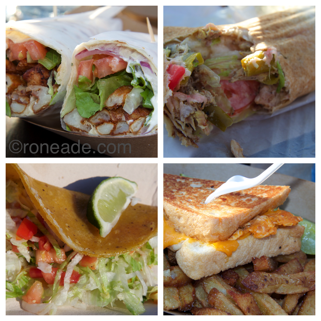 Clockwise from top left: Original Souvlaki chicken souvlaki; Ozzie's Food beef shawarma; Grilled Cheeserie's Buffalo Chicken Grilled Cheddar sandwich; Bonita Cantina's fish taco