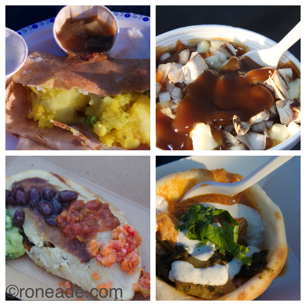 Dosa's marsala classic; Canadian Poutinerie's bacon mushroom poutine; Streetside Curry's butter chicken and rice in a naan bowl with yogurt; ROY Street Cart beef empanada with black beans, coriander guacamole, salsa