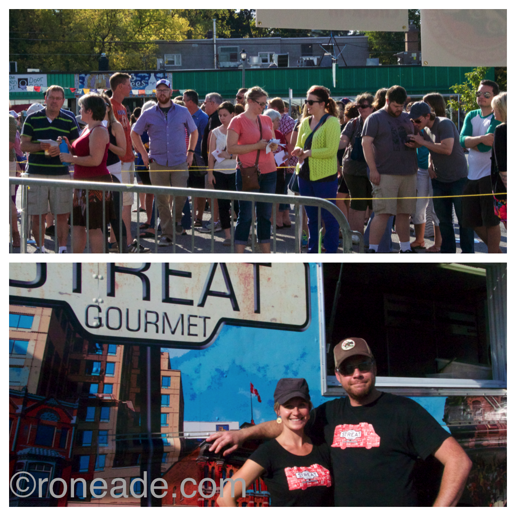 Top, crowds started lining up a good half-hour before gate opened at 4 p.m. Bottom, Ottawa Streat Gourmet chef Ben Baird with partner, Elyse Pion