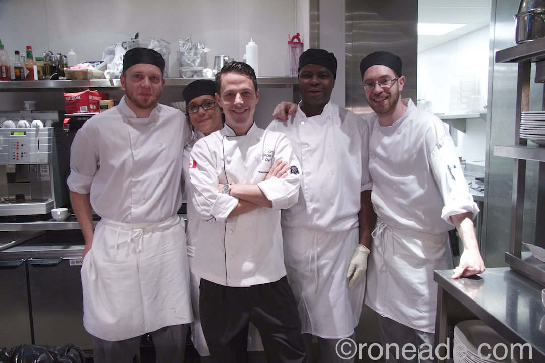 In the kitchen at Shore Club, L-R: line cook Adam Sullivan, Mahriah Setosta, exec. chef Jason Grooulx, dishwasher Jude, line cook Joey Albert