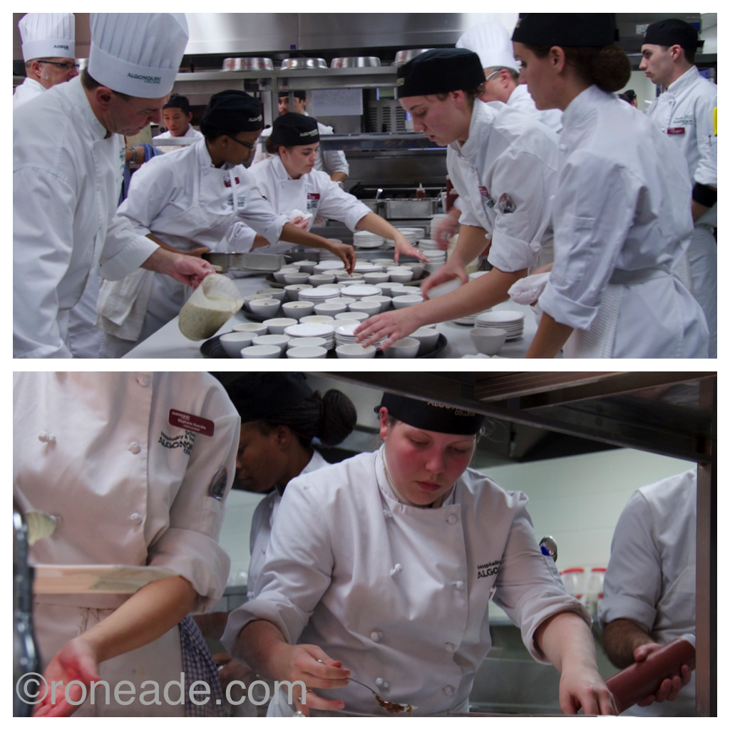 Top, Algonquin students working behind the scenes put out the first course. Bottom, student Amelie Larocque on the line.