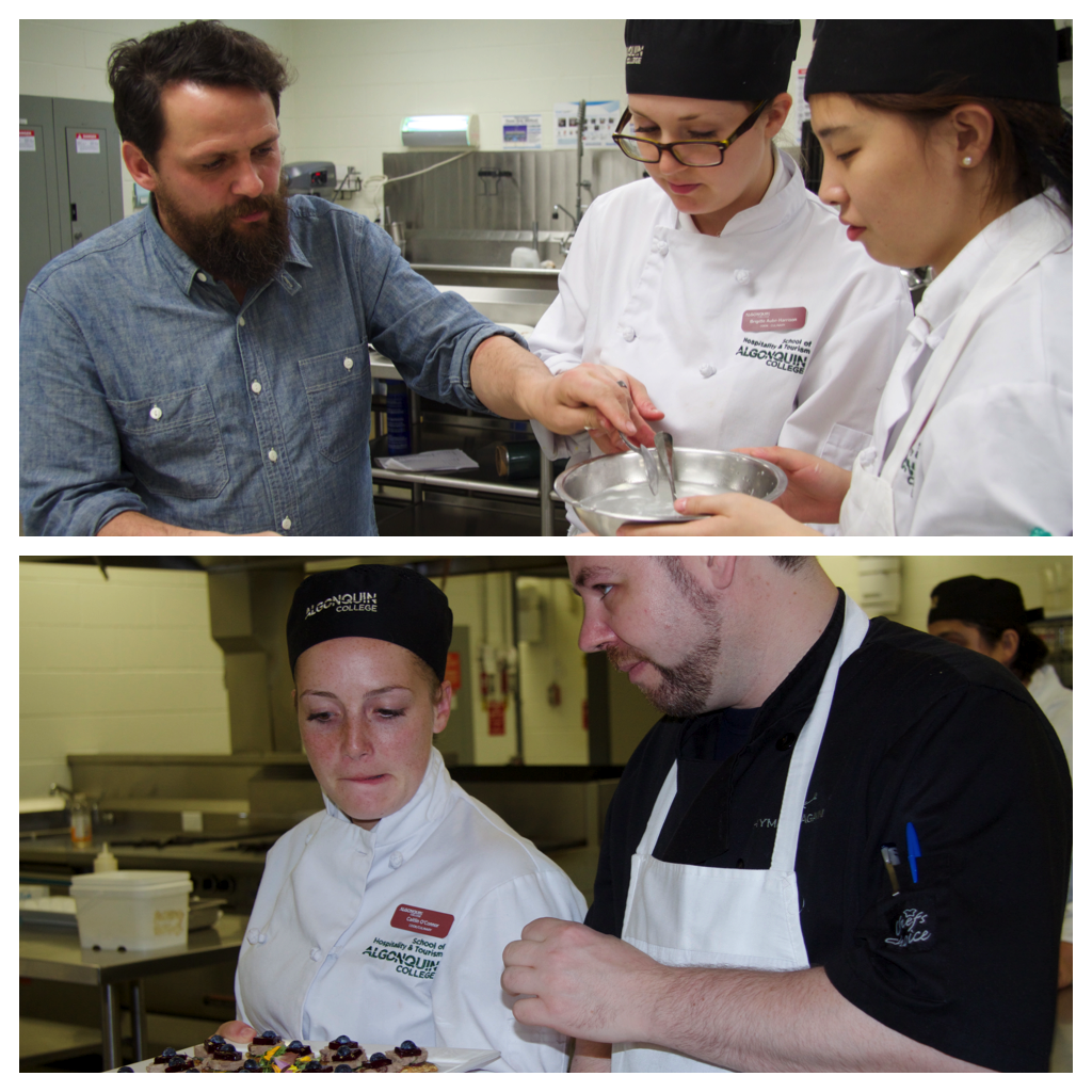 Top, chef Marc Doiron instructs Brigitte Aube-Harrison and Yungi Cao on dessert assembly. Bottom, chef Paul Thompson with student Caitlin O'Connor.