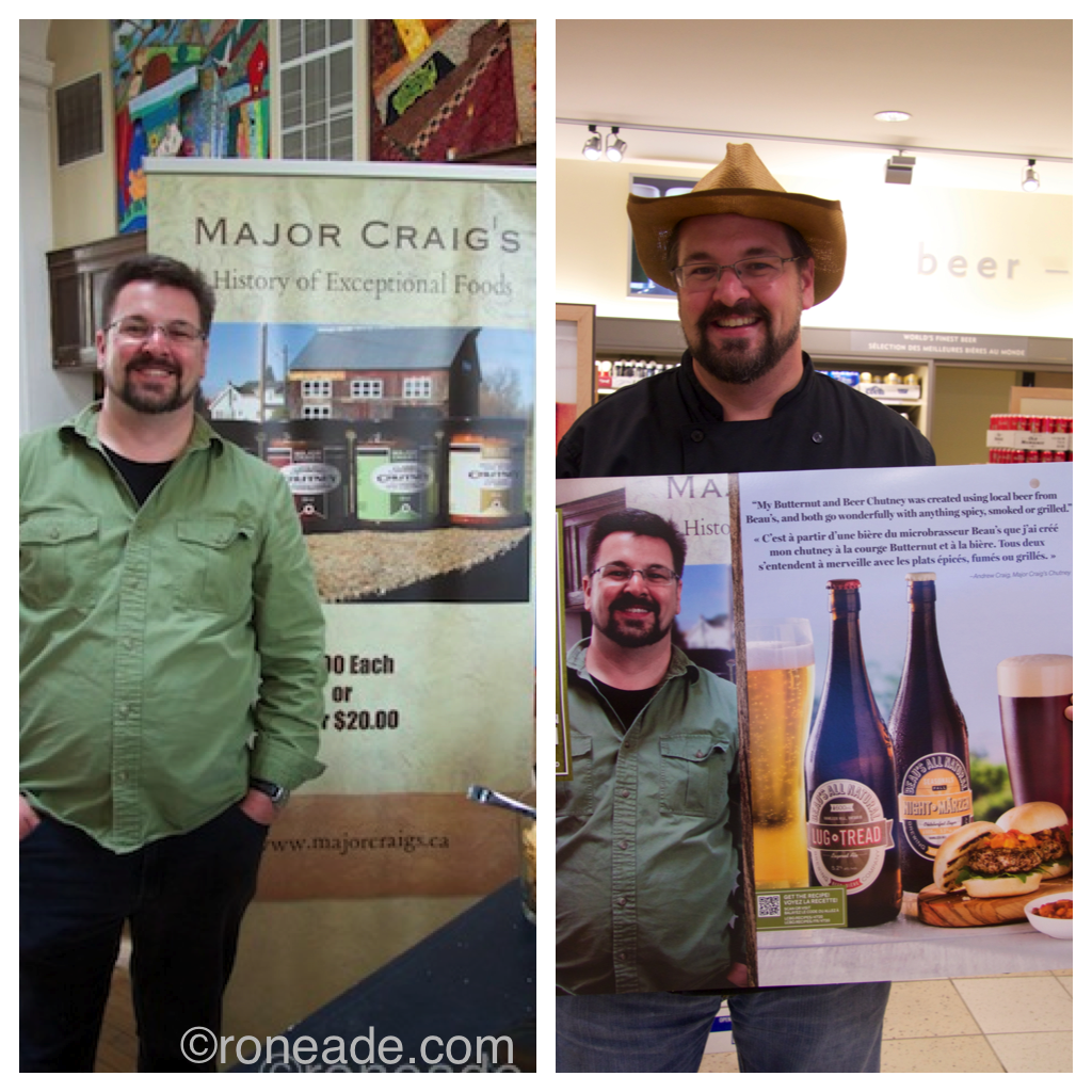 Left, my original photo of Andrew Craig taken at the McKeen Glebe Pop-Up Market in April; right, Andrew Craig holds his poster today at the liquor store