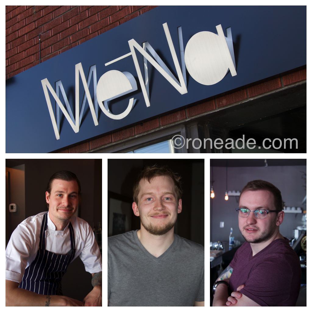 Bottom left, MeNa chef James Bratsberg has a bright future, says Andrew Braithwaite of enRoute magazine. Centre, owner Bryan Livingston; right, sommelier Samuel James knows his labels