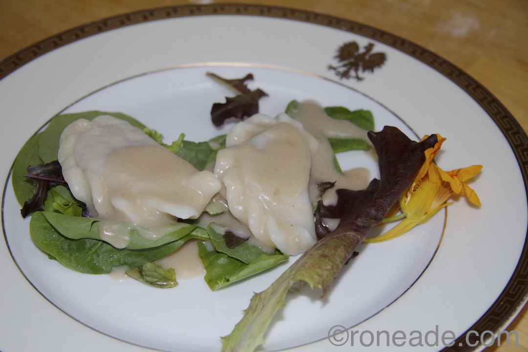 Kasia Bosacka's reinvented duck, cranberry perogy with Polish mead, cream sauce
