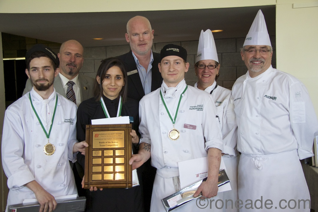 Gold place finishing team L-R (foreground) Chris Lebovic, Dayana Masi, Kane VanEe. Behind L-R Instructor Enrico DeFrancesco, dean Jim Kyte, chef/instructors Cindy Toffanello, Mario Ramsay