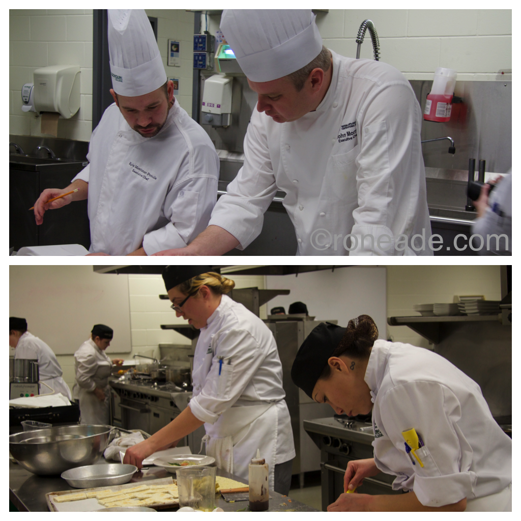 Top, food judges and chefs Kyle Mortimer-Prouolx of Lowertown Brewery and John Morris at the National Arts Centre. Bottom, L-R, students Jessica Thomas and Whitney Whitefish at work in the kitchen