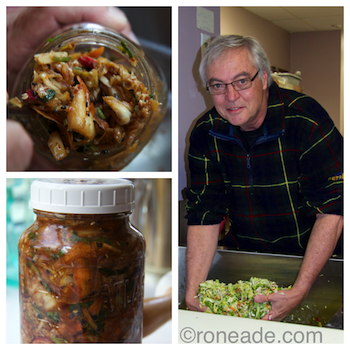 Left, pack kimchi into clean jars after about two days of fermentation; refrigerate. Right, I'm making kimchi in the kitchen at Algonquin College food services