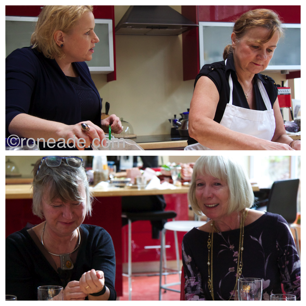 Top, Polish TV celebrity Kasia Bosacka, wife of Polish ambassador Marc in Bosacki to Canada, makes perogies with Grazyna Lebkowska. Bottom left, hostess Ela Kinowska with long-time friend Halina Player at the luncheon
