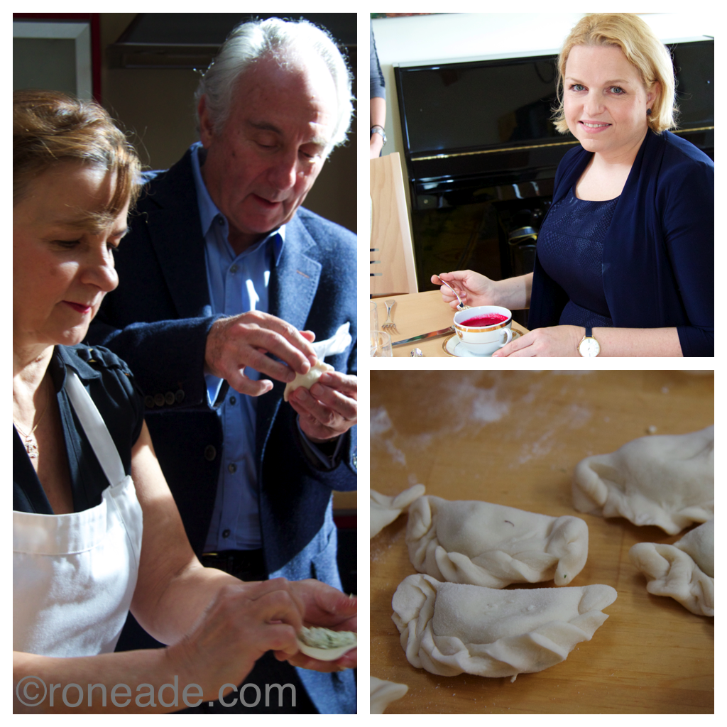 Left, classicly trained Frnech chef Robert Bourassa tries his hand at crafting perogies. Top right, Kasia Bosacka says she's lightened up her cuisine using fewer but brighter ingredients