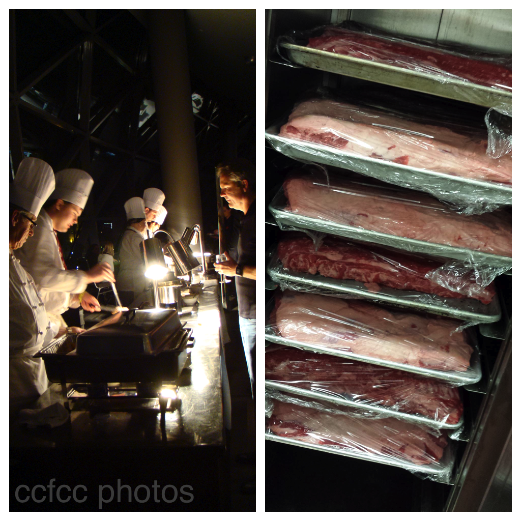 Left, busy service on two intense nights at the Tasting Alley. Right, more than two dozen 12-pound strip loins were roasted, then carved on the tasting floor