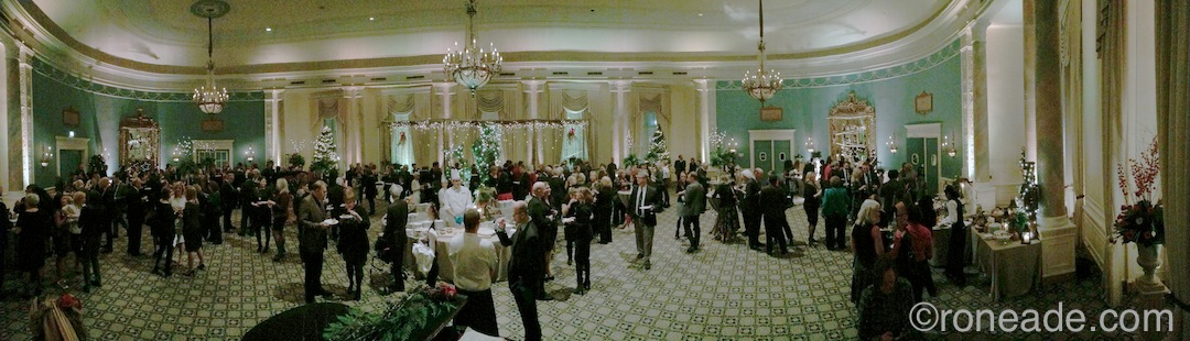 A panoramic view of the Adam Room early during the evening of the Fairmont Chateau Laurier's 23rd annual Christmas soiree, hosted for the 16th time by hotel general manager Claude Sauve and his wife, Deborah. By the time it done, more than 300 clients, friends and socialites were expected to attend.