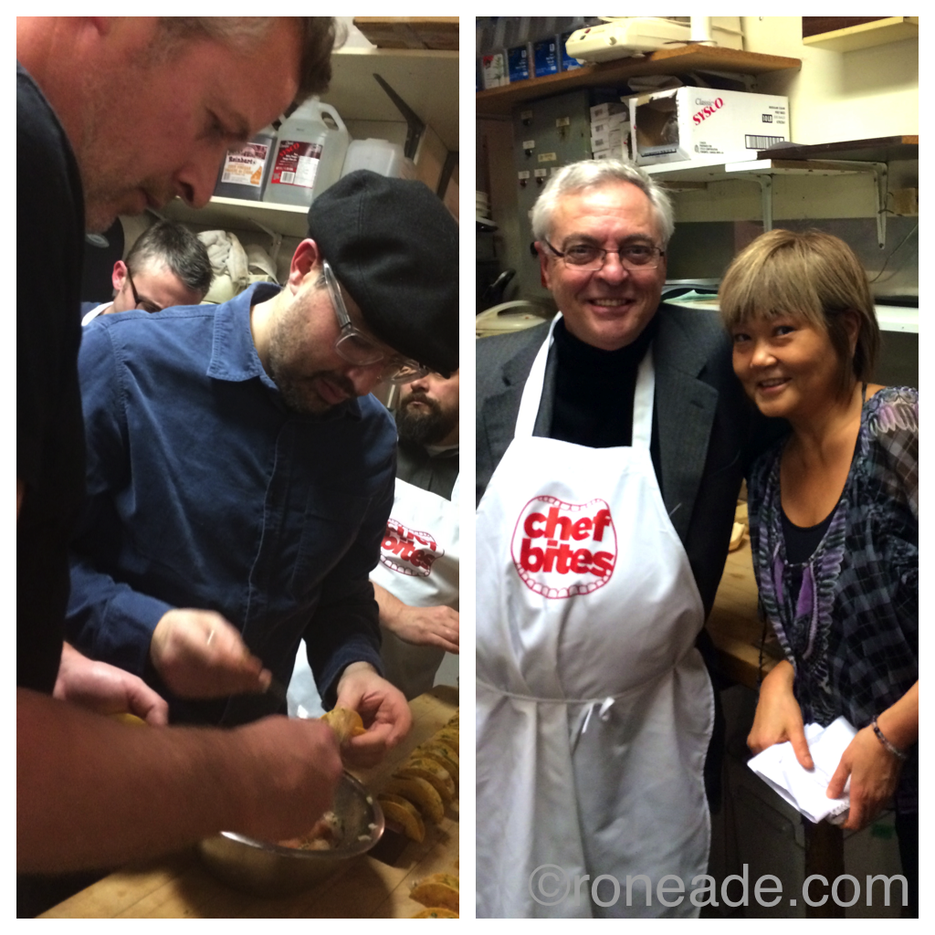 Left, chefs Matt Carmichael and Chris Deraiche. Right, even I was allowed to volunteer, with organizer chef Caroline Ishii