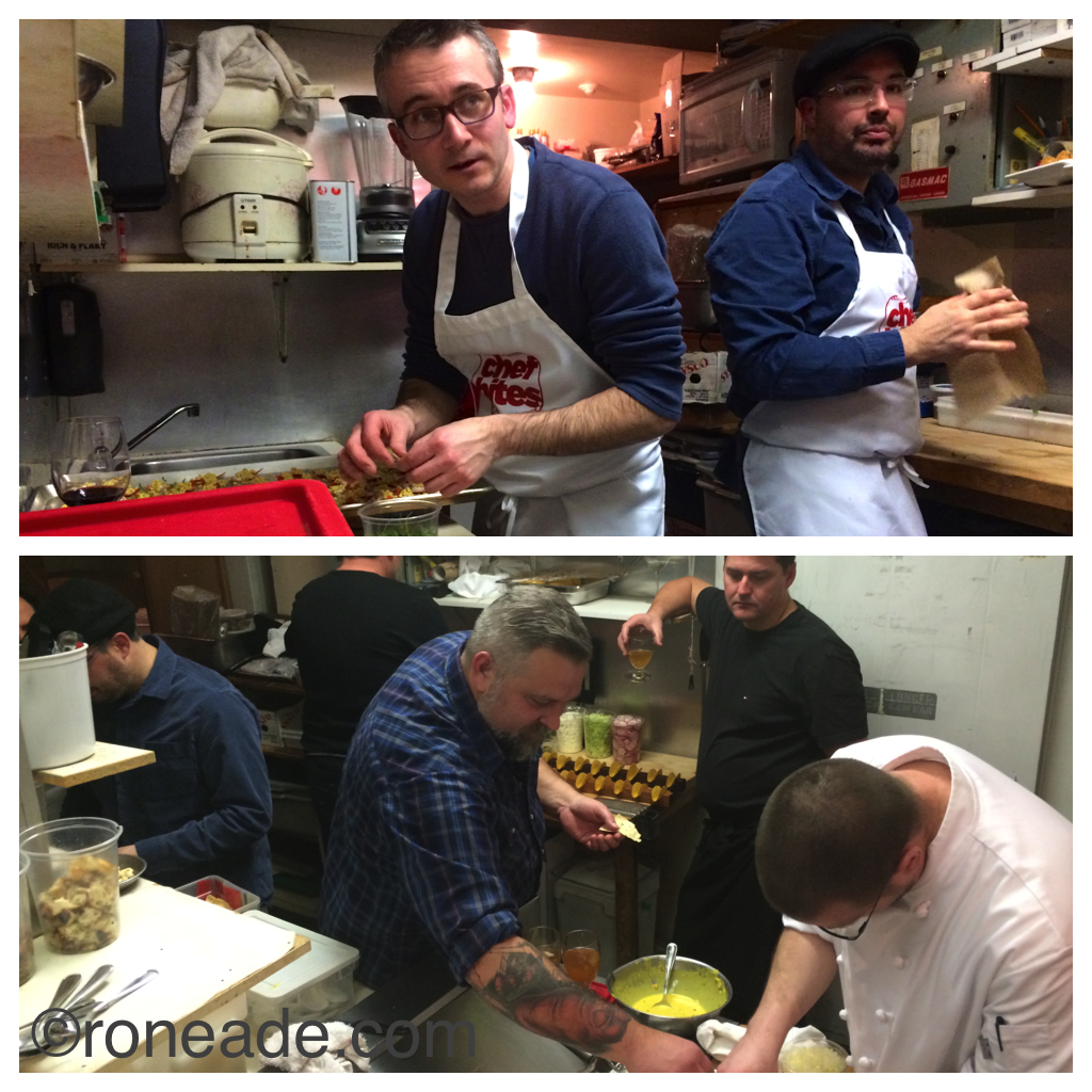 Top, chefs Marc Lepine of Atelier and Chris Deraiche of Wellington Gastropub. Bottom, assembly behind the scenes in the galley kitchen at Sante