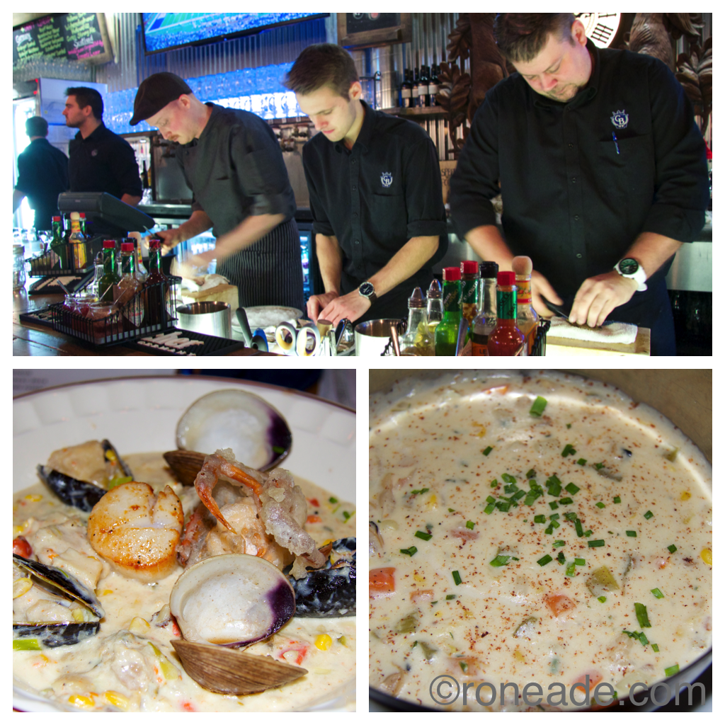 Bottom left, second-pace chowder by Tom Panner of Rosie's; right, third place Mike Stawicki of Elmdale Oyster House & Tavern