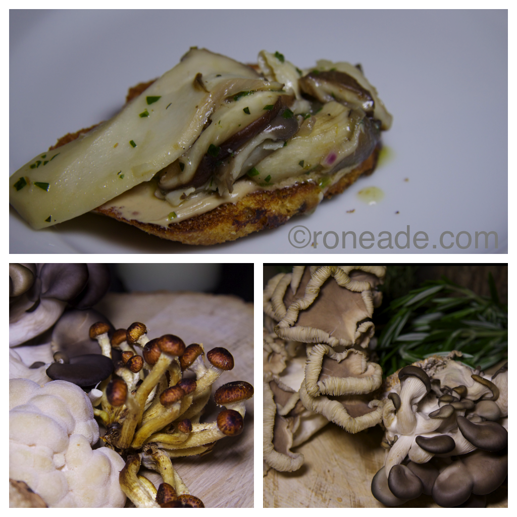 Top, sauteed Le Coprin mushrooms on crostini. Bottom, a selection of the finest fungus from grower Christophe Marineau in Farrelton, Que.