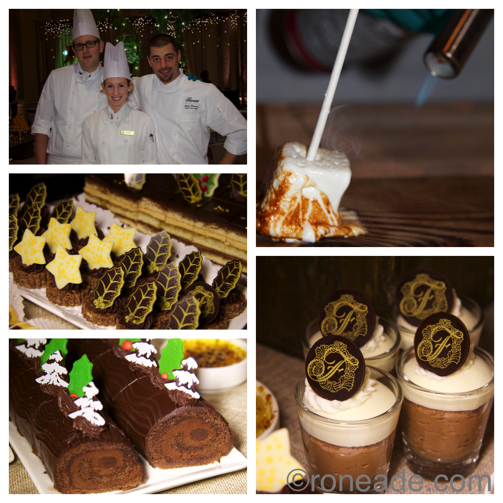 Clockwise from top left, at the dessert station chef de partie Adam Cenaiko, second cook Crystal Lillico, executive chef Louis Simard; torched marshmallow; chocolate mousse cups; chocolate Yule log; finger truffles