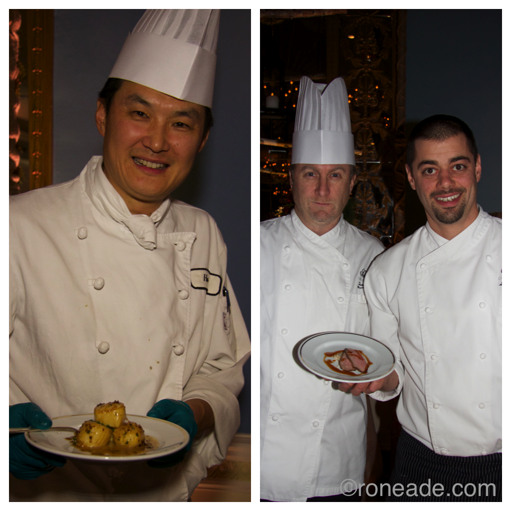 Left, first cook Hong Jiang flambees plumb scallops in a foie gras and butter mixture. Right, at the lamb station with executive sous chef Shane Colton, left, and executive chef Louis Simard