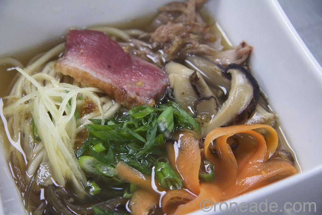 "Movie theme ""Tampopo"" by chef Jonathan Korecki (Sidedoor/Restaurant E18hteen): Duck ramen smoked breast, confit leg, pickled carrot, ginger and hand-rolled noodles."