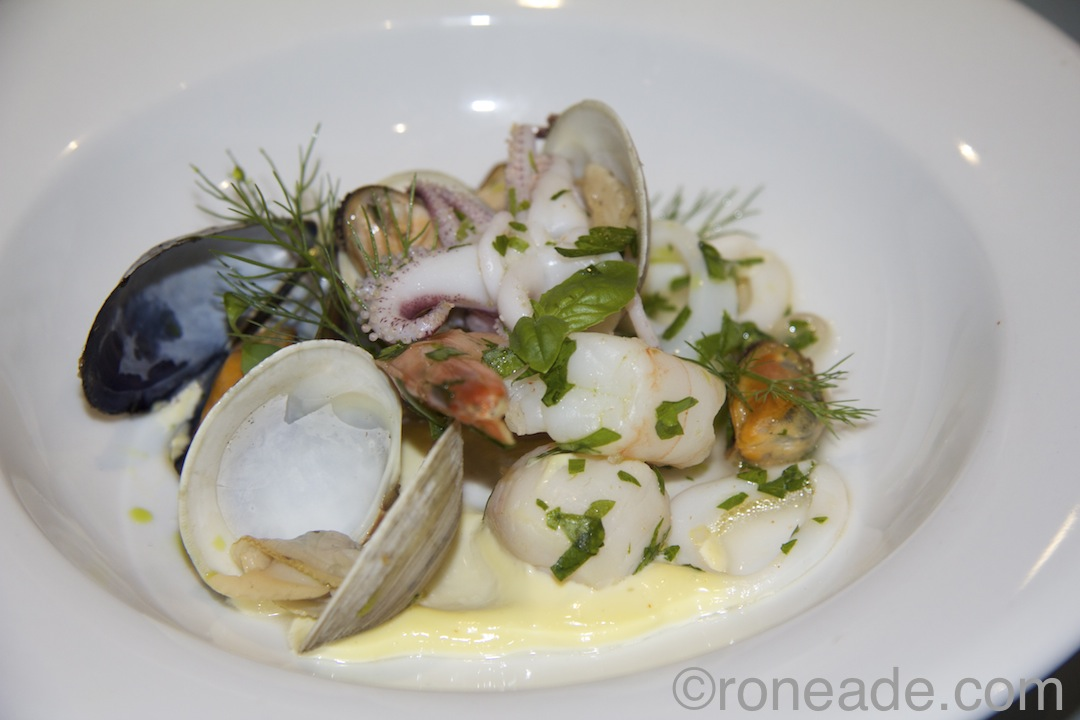 "Movie theme ""The Trip to Italy"" by chef/owner Stev George or Olivea Restaurant, Kingston (who, by the way, has attend all, five Food for Thought events): Insalata di Mare featuring chilled marinated shrimp, scallops, clams, mussels, calamari, limonata di sorrento."