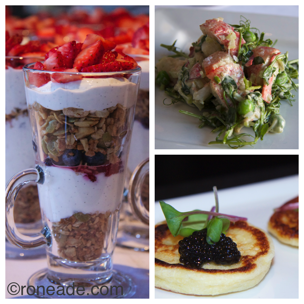 Sadly, I didn't sample absolutely everything, but of those I did manage, left, gralola parfait with vanilla yogurt and fresh fruit; top right butter-poached lobster salad with aioli, celery, tender peas; bottom, Acadian sturgeon caviar on potato bellini with creme fraiche, tarragon