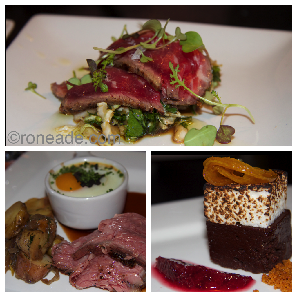 Top, seared beef tataki with sesame, soy, radish salad; bottom left, reserve Angus prime rib, mustard crust, roasting jus served with caramelized hash browns and oeufs en cocotte (soft-baked egg, chives, shaved Perigord truffle); right, chocolate marquis with toasted marshmallow, blood orange, graham crumb
