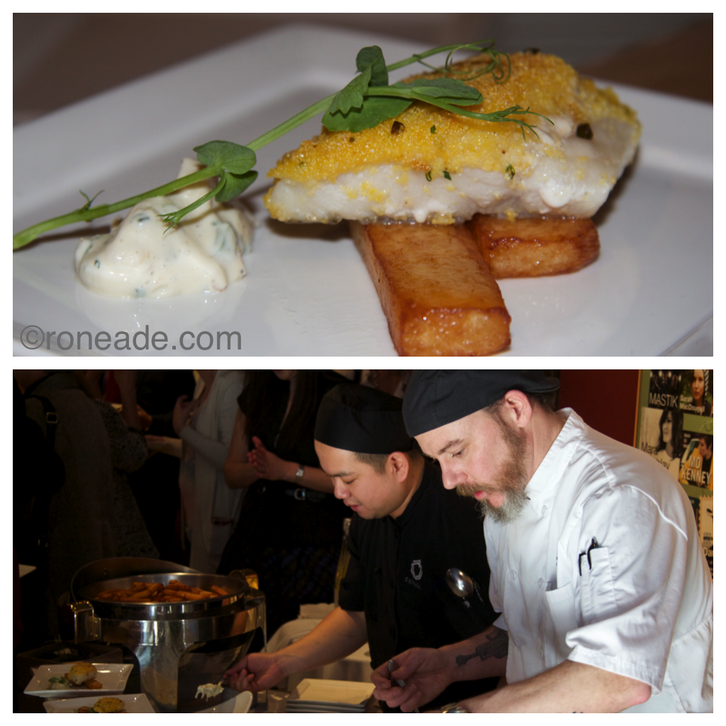 Among three sample Ontario-theme nibbles created by the NAC and served Monday to announce Ontario Scene: Wild Lake Erie pickerel encrusted with cornmeal with celeriac remoulade, rutabaga chips. Below, the fish was served by visiting chef Kevin McKenna of Viamede Resort