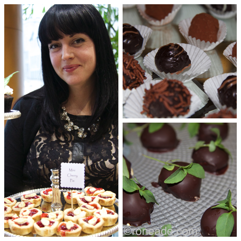 Left, Sarah Corbett a.k.a. Sarah J's Cupocakes with a selection of sweetness. Top right, assorted truffles from culinary arts students at Algonquin College. Bottom from executive chef Jonathan Korecki at Restaurant E18hteen and Sidedoor, dark chocolate and banana bombe