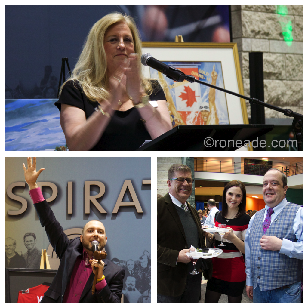 Top, Anna Silverman, executive director Shepherd's of Good Hope Foundation. Bottom left, auctioneer Ryan Watson of Raising the Bid. Right, former broadcaster and realtor Kurt Stoodley with TV producer Erin Lannan chat with event organizer Robin Duetta